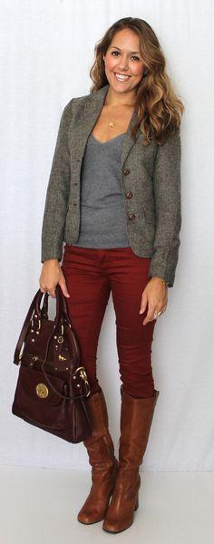 Tweed blazer and burgundy jeans.
