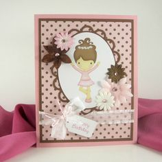 Happy Birthday card, ballerina card for young girl, personalized custom card,  brunette dancer, pink and brown polka dot. $4.50, via Etsy.