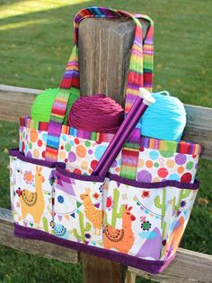 "Perfect tote for any crafter, sewer or knitter.  Tote has outside and inside pockets and an optional drawstring closure.  Bag dimensions: 13"" w  x  10"" h  x  4½"" d Get the PDF Buy the paper pattern..."