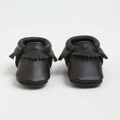 Ebony - Black Leather Moccasins for Kids in sizes 1-10 | Finally shoes that stay ON babes feet! :: Freshly Picked Moccs