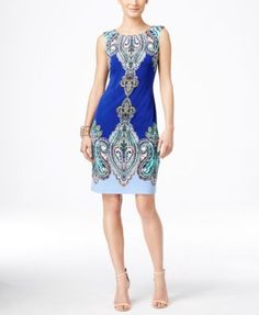 INC International Concepts Sleeveless Paisley-Print Sheath Dress, Only at Macy's - Dresses - Women - Macy's
