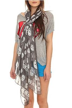 Love long scarves and this has skulls so its even better.