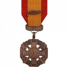 The Republic of Vietnam Gallantry Cross Medal (with Palm) was a decoration presented by South Vietnam to recognize valor and gallantry while serving in active combat against enemy forces. The medal was issued in four degrees represented by the type of device worn on the medal. The Gallantry Cross with Palm indicates an individual award cited before the Army.