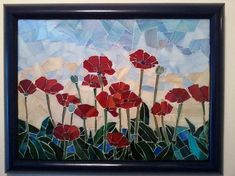 POPPIES - I know everybody likes flowers. Red poppies is a glass mosaic I used stained glass in this piece