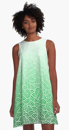 Ombre green and white swirls doodles A-Line Dress by @savousepate on @redbubble #alinedress #dress #clothing #apparel #pattern #abstract #green #emerald #mint #irish #stpatricksday #saintpatricksday