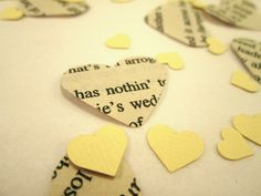 Book Page Heart Confetti  & Ivory Mini Paper Hearts for Vintage Wedding