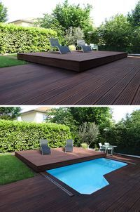 Deck Design Idea: This raised wooden deck is actually a sliding pool ., Deck Design Idea: This raised wooden deck is actually a sliding pool ., When age-old in strategy, the pergola is having somewhat of a modern-day rebirth all these days. Small Backyard Pools, Small Pools, Backyard Landscaping, Backyard Ideas, Patio Ideas, Small Decks, Indoor Pools, Small Backyards, Landscaping Design