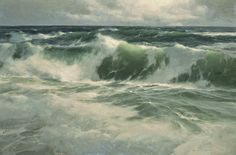 Donald Demers ~ Over the Undertow ~ oil; a masterful command of technique. Donald recently stated that he has does not use a camera. He has hone his plein air and observation skills over the past 19 years! The Paintings of Donald Demers Landscape Art, Landscape Paintings, Ocean Scenes, Sea Art, Seascape Paintings, Ocean Waves, Fine Art, Photos, Beaches
