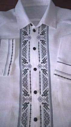 Hardanger Embroidery, Cross Stitch Embroidery, Cool Shirts, Casual Shirts, Guayabera Shirt, Black Fire, Baby Vest, Fabric Manipulation, White Shirts