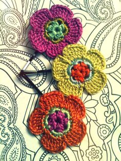 Crochet Daisy Flower Hair Pins Pink Green and by CatWomanCrafts, $10.00