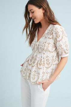 aa11e40ae57 Slide View: 1: Medina Eyelet Top Anthropologie Clothing, Eyelet Top,  Colourful Outfits
