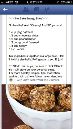 No bake energy Yoli Balls cup Sunflower seeds cup Raw pumpkin seeds 1 c. No bake energy Yo Gourmet Recipes, Low Carb Recipes, Snack Recipes, Cooking Recipes, Healthy Recipes, Healthy Dinners, Diet Recipes, Healthy Treats, Healthy Eating