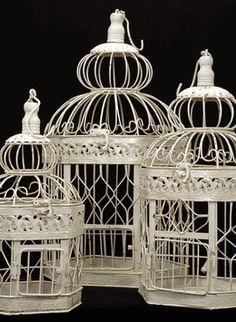 Cream White Bird Cages (Set of 3)