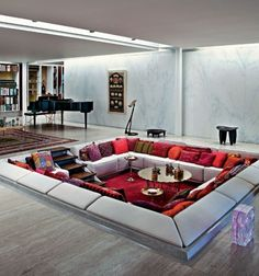 25 Sunken Living Room And Lounge Ideas To Try A sunken dialog pit was once a development in the midst of the century and the development is coming again getting extra attention-grabbing shapes. Home Room Design, Dream Home Design, Interior Design Living Room, Living Room Designs, Hall Interior, Sunken Living Room, Living Area, Living Rooms, Miller Homes