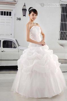 魅力的な夜会服ピックアップはストラップレス床長さウェディングドレスフリル