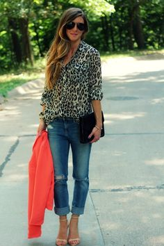 Boyfriend jeans and animal print