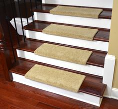 Dean Premium Pet Friendly Tape And Adhesive Free Non Slip Bullnose Nylon Carpet Stair Treads Satin Soft Twilight Beige 3