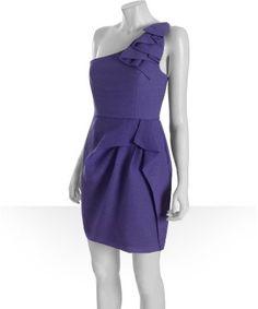 BCBGMAXAZRIA : bright mulberry crepe 'Audrey' one shoulder dress : style # 320095401