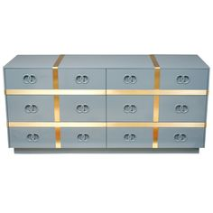 1stdibs   Six Drawer Lacquered Chest with Brass Stripes