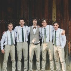Love the idea of groom in a bow tie & vest with the groomsmen in suspenders! Or all in suspenders