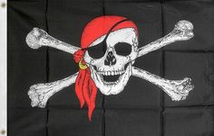 Jolly Roger Pirate Flag 2x3 60x90cm 2x3' 100 Polyester Red Scarf Skull - 7$