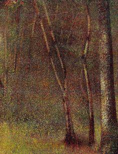 In the Woods at Pontaubert , Georges Seurat