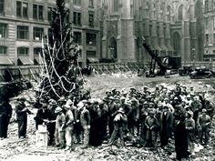 The First Rockefeller Tree, Erected in 1931 --> http://www.hgtvgardens.com/christmas/famous-christmas-trees?s=2&soc=pinterest