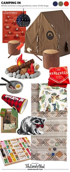 Shop Campfires Wall Art, Star and Dot Pendant, Explorer Playhouse, The S'more the Merrier Campfire Set, Log Seat, Cozy Camper Blanket, Over Easy Breakfast Set, Great Indoors Sleeping Bag (Grey), Camp Spirit Bullhorn, The Great Adventure Kit, Dapper Raccoon Pillow, String Along Deluxe Bead Kit and more