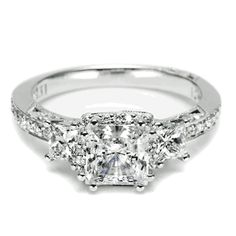 Three-stone Princess Cut Diamond Engagement ring from Tacori. *wow*