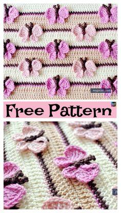 Crochet Butterfly Baby Blanket – Free Pattern #freecrochetpatterns #butterfly #blanket