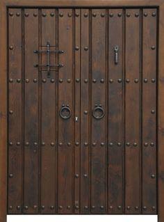Puertas Réplica: Elvira doble Wooden Front Door Design, Double Door Design, Wooden Front Doors, Wooden Gates, Rustic Doors, Grill Door Design, House Gate Design, Entrance Doors, Garage Doors