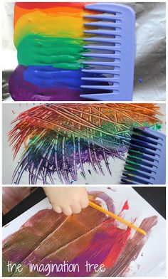 Rainbow Comb Paintings - The Imagination Tree : Malen mit dem Kamm Preschool Arts And Crafts, Fun Crafts, Crafts For Kids, Creative Activities, Art Activities, Imagination Tree, Messy Art, Toddler Art Projects, Process Art
