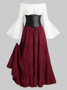 Lace-up Corset Belt Vintage Renaissance Medieval Bell Sleeve Dress , Source by dresses Pretty Dresses, Women's Dresses, Beautiful Dresses, Dresses With Sleeves, Summer Dresses, Elegant Dresses, Wedding Dresses, Wedding Lace, Wedding Vintage