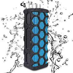 Waterproof Bluetooth Speaker Keedox Wireless Outdoor Speaker Shower Bluetooth Speaker for Apple iPhone 6s Plus iPhone 6s Samsung and MoreBlack Blue *** AMAZON Great Sale