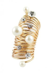 Glamorous Golden Alloy with Rhinestone Pearl Lady's Ring