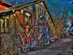 mural/street art in Freetown Christiania (micronation within Copenhagen, Denmark)