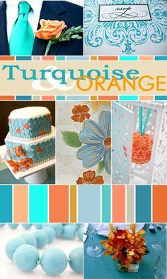 Turquoise and Orange Wedding Colors Colour Pallette, Colour Schemes, Color Combos, Azul Tiffany, Tiffany Blue, Orange Wedding Colors, Orange Weddings, Orange And Turquoise, Blue Orange