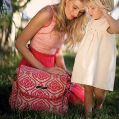 Petunia Pickle Bottom Diaper Bag Boxy Backpack Chenille Almond Raspberry from @LaylaGrayce #laylagrayce #baby #diaper
