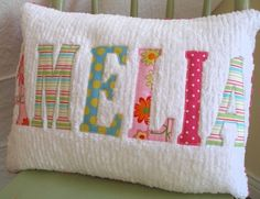 Personalized Name or Phrase Chenille Pillow by emmiscottageetsy Modern Baby Bedding, Kids Canvas Art, Personalized Pillows, Personalized Items, Applique Pillows, Sewing Machine Embroidery, Nursery Fabric, Handmade Baby Quilts, Diy Sewing Projects