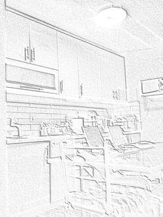 Μια κουζίνα σε μορφή ζωγραφικής με μολύβι.