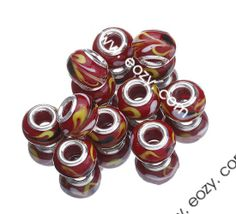 Red Yellow Wave 9.5x14.5mm 925 Sterling Silver Core Glass Charms Jewelry European Beads