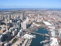 Darling Harbour, with Sydney CBD on left shore / Barangaroo is being constructed on the old wharves area at the bottom of the left-hand side of this image. / The actual Darling Harbour precinct is on the right-hand shore.