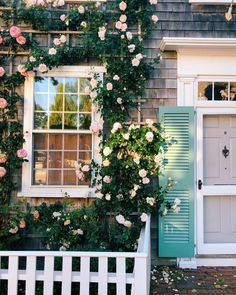 Roses are pink shutters are blue. Nantucket Style, Nantucket Island, Coastal Style, Cottage Shutters, Cottage Exterior, Coastal Cottage, Coastal Decor, Cozy Cottage, Ivy House