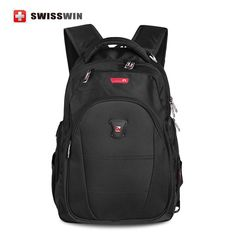 ORIGINAL UNISEX  Swisswin Backpack 13-15 LAPTOP School Backpack BLACK