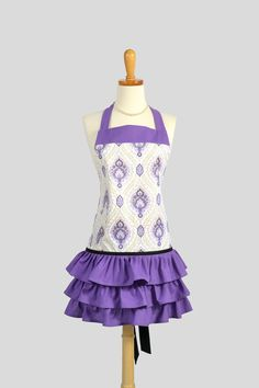 Ruffled Vintage Style Apron in Elegant Sparkles White and Purple Damask