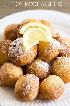 Lemon Ricotta Fritters are a light and fluffy bite that's perfectly poppable and always a hit at brunch! They are the perfect way to start your day! Donut Recipes, Lemon Recipes, Mexican Food Recipes, Cookie Recipes, Bread Recipes, Sicilian Recipes, Pastry Recipes, Just Desserts, Delicious Desserts