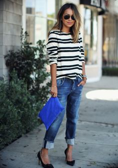 Such a great casual look. Loving the striped shirt with cuffed boyfriend jeans. Stitch fix fall Stitch fix winter Fashion trends Preppy Winter Outfits, White Summer Outfits, Casual Outfits, Casual Winter, Casual Wear, Fashion Mode, Love Fashion, Winter Fashion, Fashion Trends