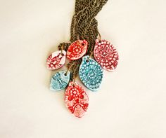 Necklace Large ceramic pendant 4 colors available by CasaAbril