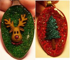 Resin Spoon Christmas Ornaments - would love to make these for gifts as I give all my kids and grandkids an ornament each year to use for their future Christmas trees