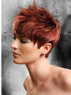 Full lace wig new high quality haircut 6 inch human hair - hair - Short Cropped Hair, Short Hair With Layers, Short Hair Cuts, Pixie Crop, Red Pixie, Wavy Pixie, Short Pixie, Crop Hair, Corte Y Color